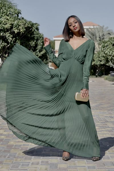 Self Portrait Pleated Green Maxi Dress 4