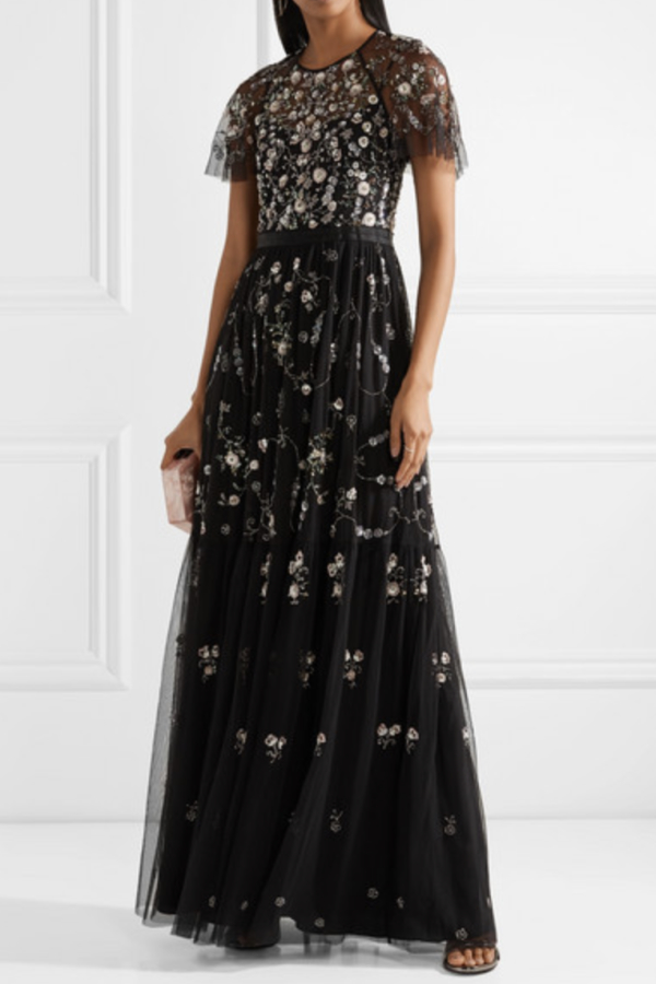 Needle & Thread Solstice satin-trimmed gown 2