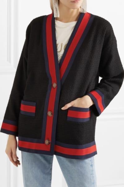 Gucci Grosgrain-trimmed cotton-blend tweed cardigan 3