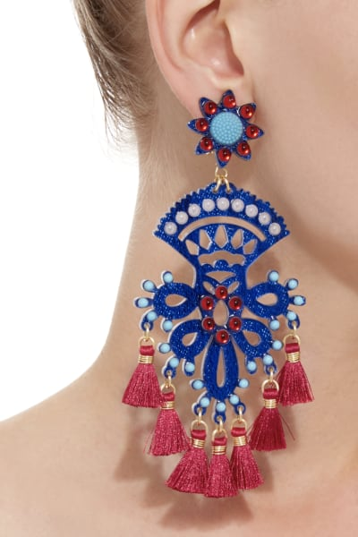 Mercedes Salazar Fiesta Blue And Red Earring 2