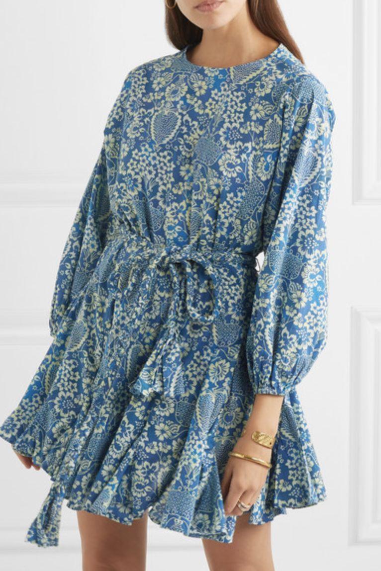 Rhode Resort Ella pleated floral-print cotton-poplin mini dress 2 Preview Images