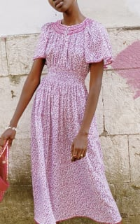 Pink City Prints Lavender Ditsy Tamsin Dress 4 Preview Images
