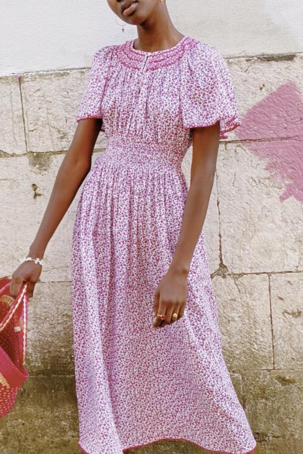 Pink City Prints Lavender Ditsy Tamsin Dress 4