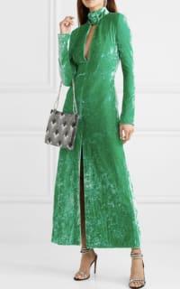 Attico Buckled cutout stretch-velvet dress 2 Preview Images