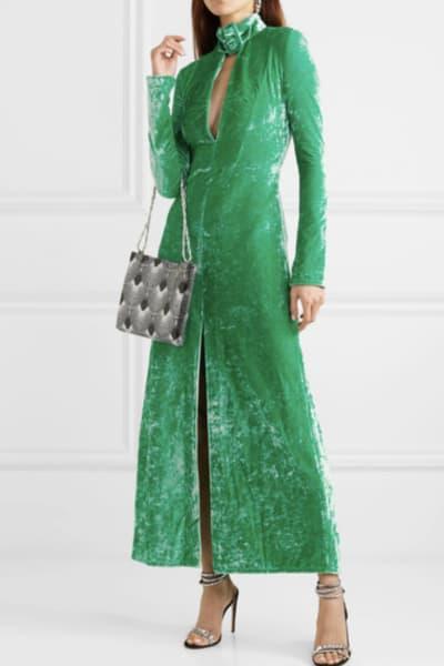 Attico Buckled cutout stretch-velvet dress 2