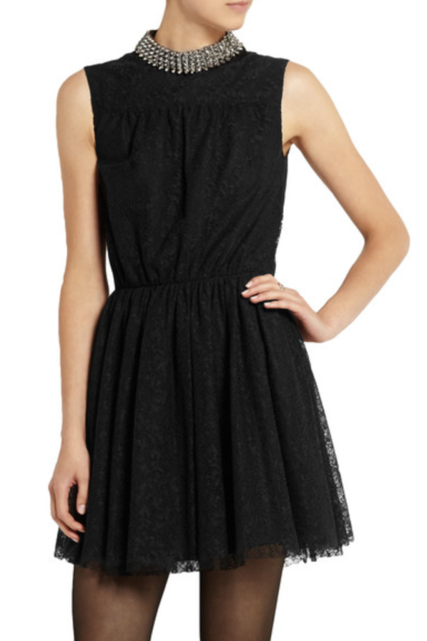 Saint Laurent Studded floral-lace mini dress 2