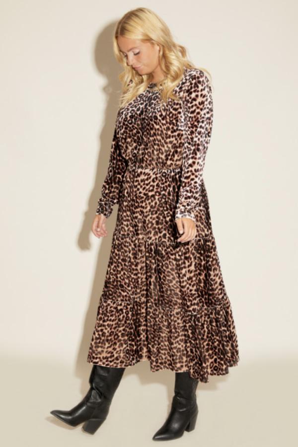 Anna Scholz Leopard Velvet Boho Dress 6