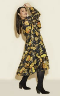 Anna Scholz Yellow Poppy Midi Dress 5 Preview Images