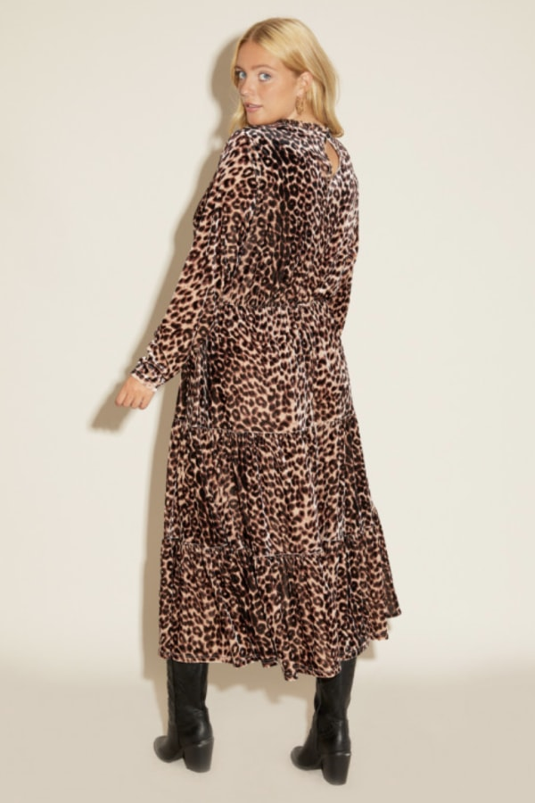 Anna Scholz Leopard Velvet Boho Dress 3 Preview Images