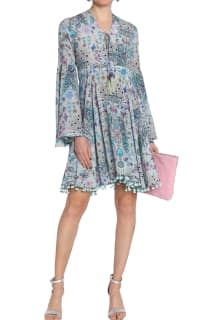 Matthew Williamson Gray Lace-up Pompom-trimmed Printed Silk Crepe De Chine Dress 2 Preview Images