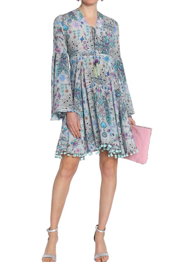 Matthew Williamson Gray Lace-up Pompom-trimmed Printed Silk Crepe De Chine Dress 2