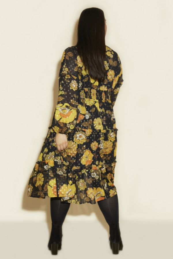 Anna Scholz Yellow Poppy Midi Dress 3 Preview Images
