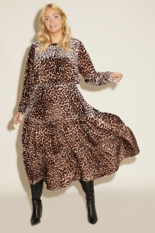 Anna Scholz Leopard Velvet Boho Dress 5