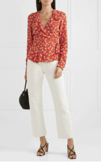 Ganni Ruffled floral-print crepe de chine wrap top 2 Preview Images