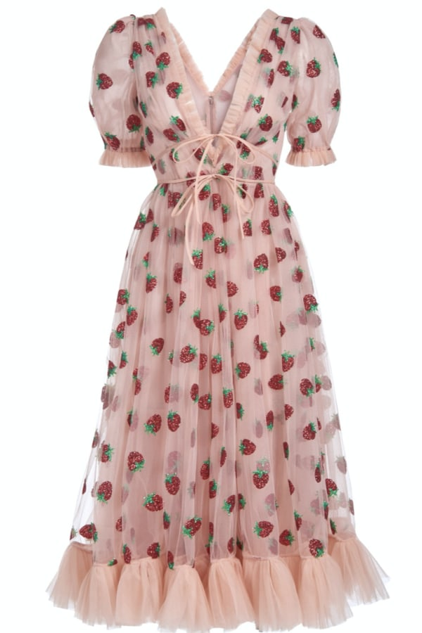 Image 1 of Lirika Matoshi strawberry midi dress