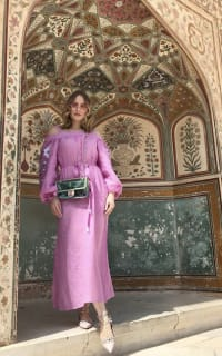 March11 Cold-shoulder belted embroidered linen midi dress 3 Preview Images
