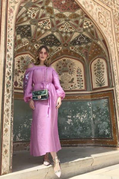 March11 Cold-shoulder belted embroidered linen midi dress 3