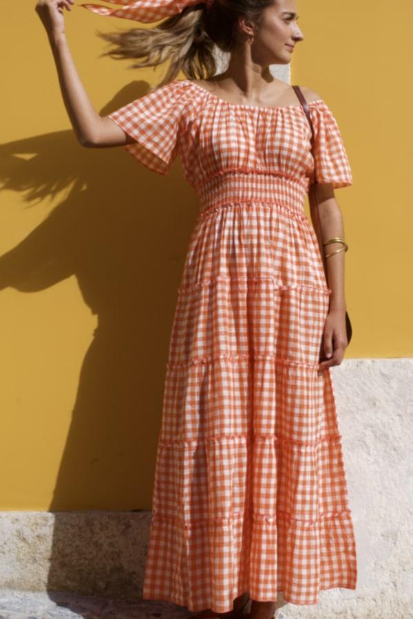 Image 3 of Pink City Prints gingham rah rah dress