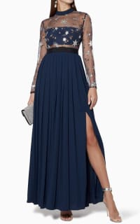 Self Portrait Navy star tulle maxi dress  2 Preview Images
