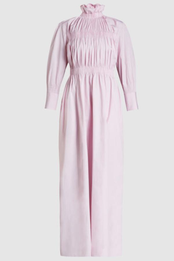 TEIJA Ruched Pink Maxi Dress