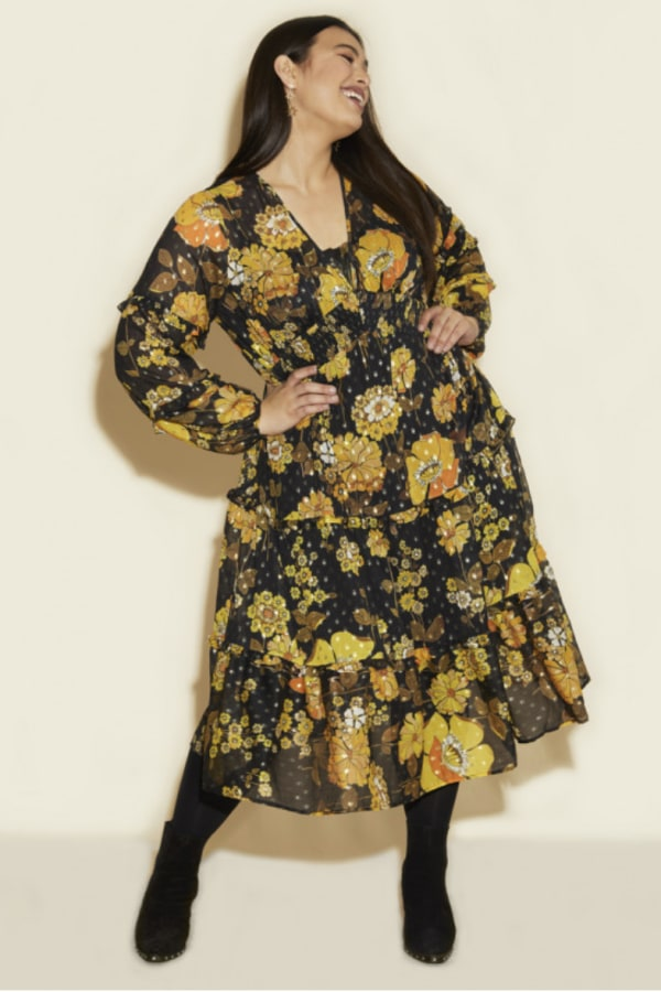 Anna Scholz Yellow Poppy Midi Dress 1 Preview Images
