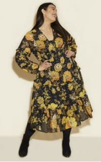 Anna Scholz Yellow Poppy Midi Dress 2 Preview Images
