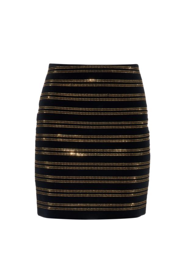 Balmain Black Embellished Velvet Mini Skirt 4