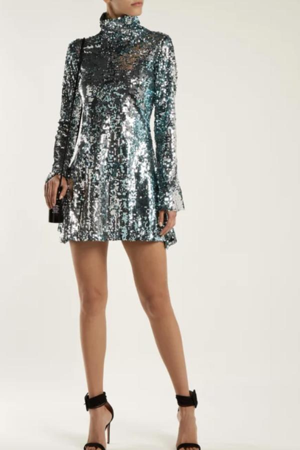 Halpern Metallic sequined mini dress 3