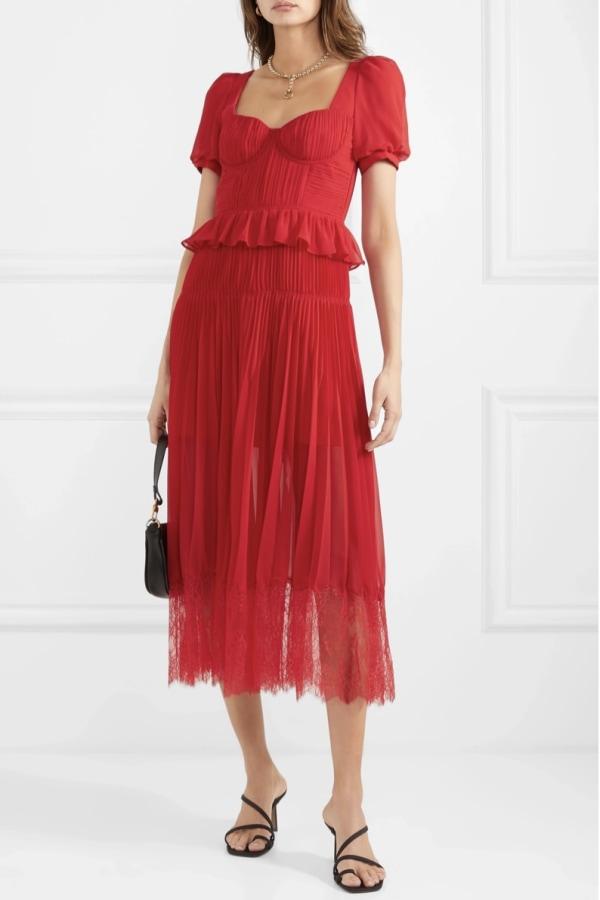 Image 4 of Self Portrait red chiffon midi dress