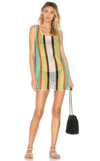 Diane Von Furstenberg Open knit tank dress swim cover up Preview Images