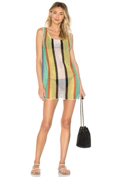 Diane Von Furstenberg Open knit tank dress swim cover up