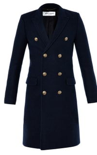 Saint Laurent Double Breasted Navy Coat Preview Images
