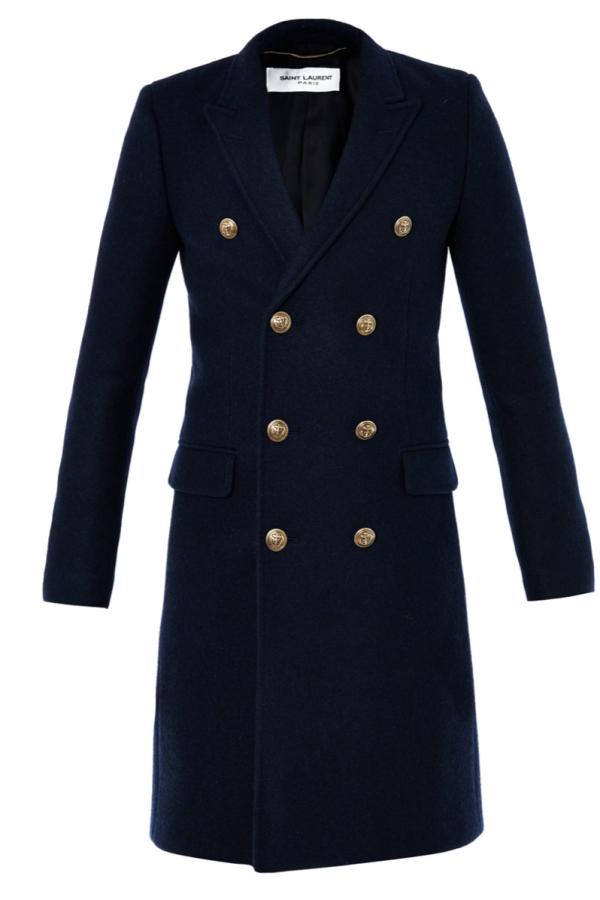 Saint Laurent Double Breasted Navy Coat