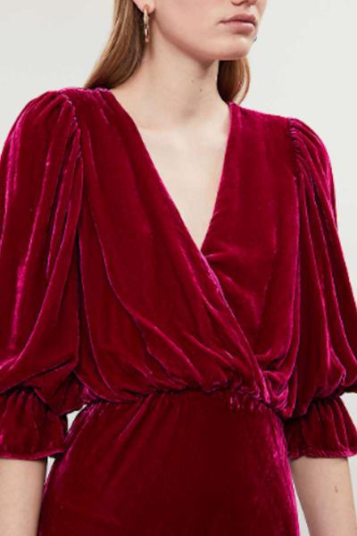 Ghost Gracie V Neck Velvet Dress 3