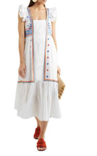 Temperley London Spellbound embroidered poplin and Swiss-dot cotton dress 2 Preview Images