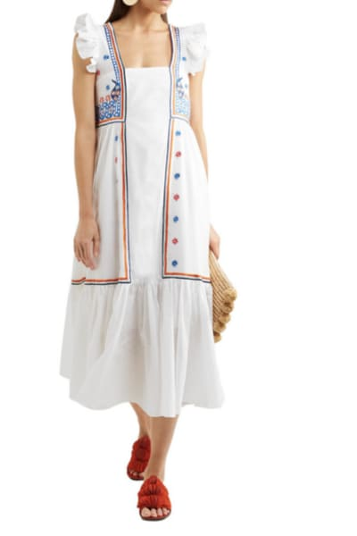 Temperley London Spellbound embroidered poplin and Swiss-dot cotton dress 2