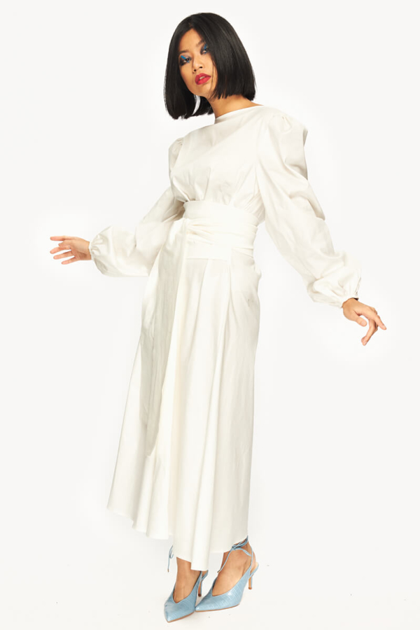 "LOUD BODIES ""Rosalind"" White Linen DRESS 6"