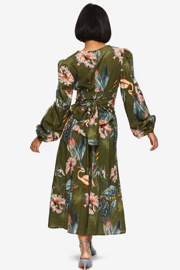 "LOUD BODIES ""Rosalind"" Olive Linen Dress 6"