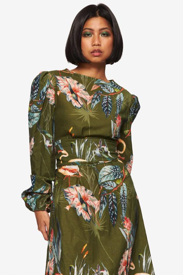 "LOUD BODIES ""Rosalind"" Olive Linen Dress 2"