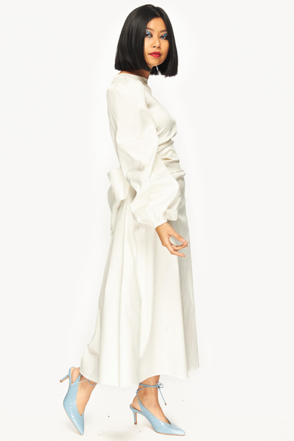 "LOUD BODIES ""Rosalind"" White Linen DRESS 3"