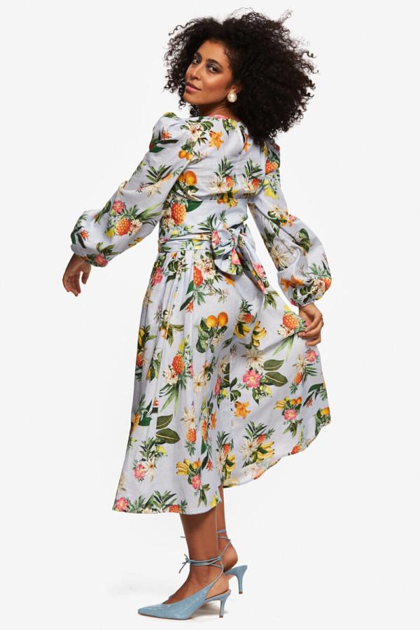 """LOUD BODIES """"Rosalind"""" floraL Linen Dress 6"""
