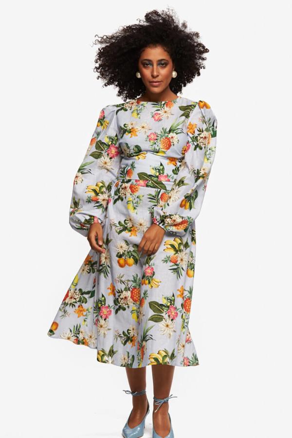 """LOUD BODIES """"Rosalind"""" floraL Linen Dress 5"""