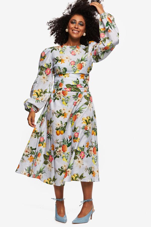 """LOUD BODIES """"Rosalind"""" floraL Linen Dress 2"""