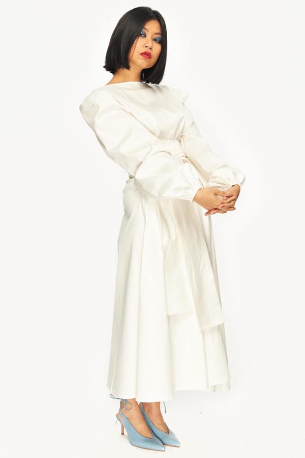 "LOUD BODIES ""Rosalind"" White Linen DRESS 5"