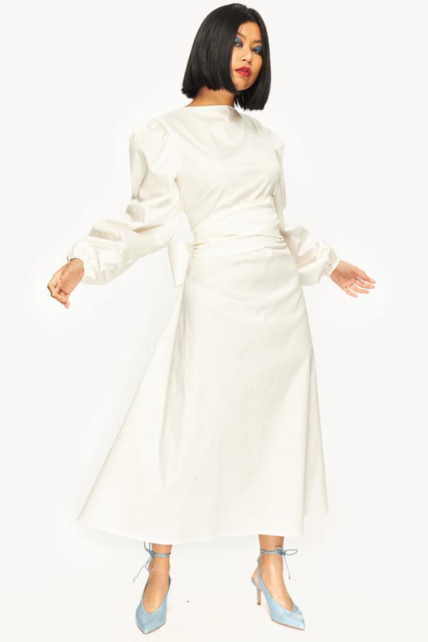 "LOUD BODIES ""Rosalind"" White Linen DRESS 4"