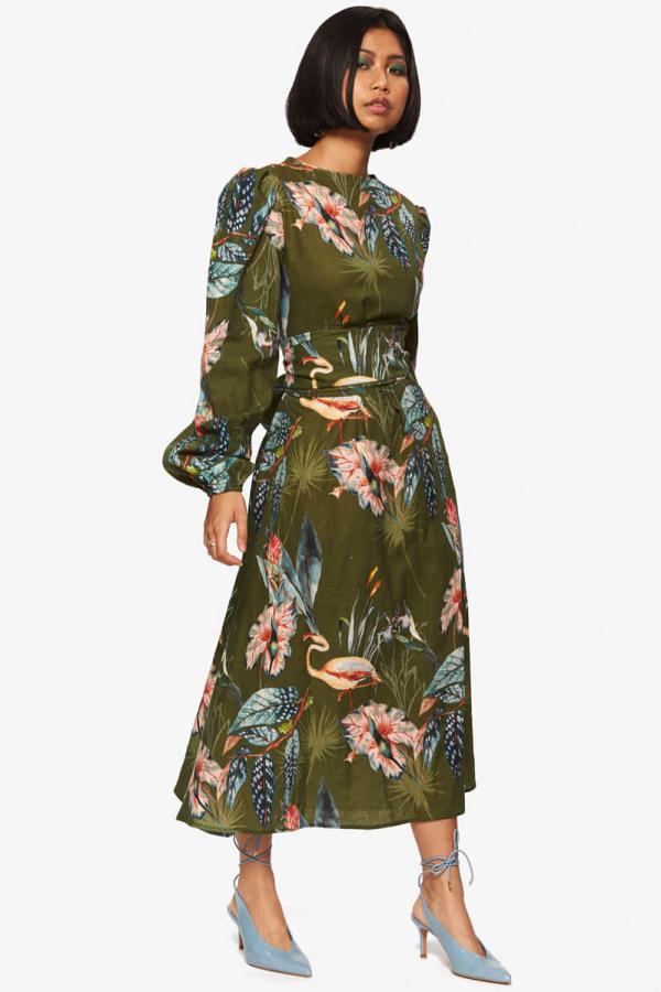 "LOUD BODIES ""Rosalind"" Olive Linen Dress 3"