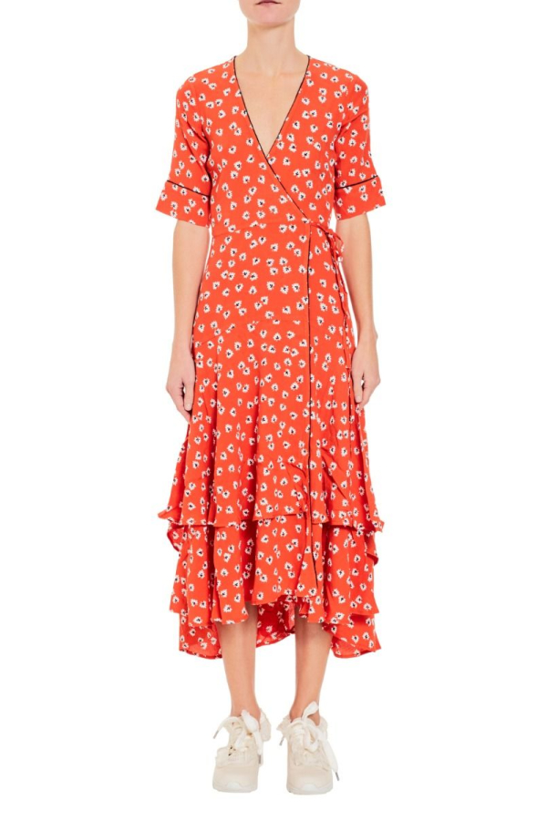 Ganni Floral-Print wrap maxi dress 5