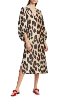 Ganni Leopard Puff Sleeve  3 Preview Images