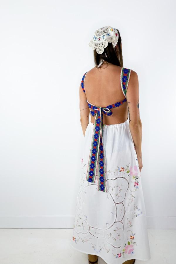 Image 5 of Magpie Vintage linen backless midi dress