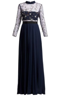 Self Portrait Navy star tulle maxi dress  Preview Images